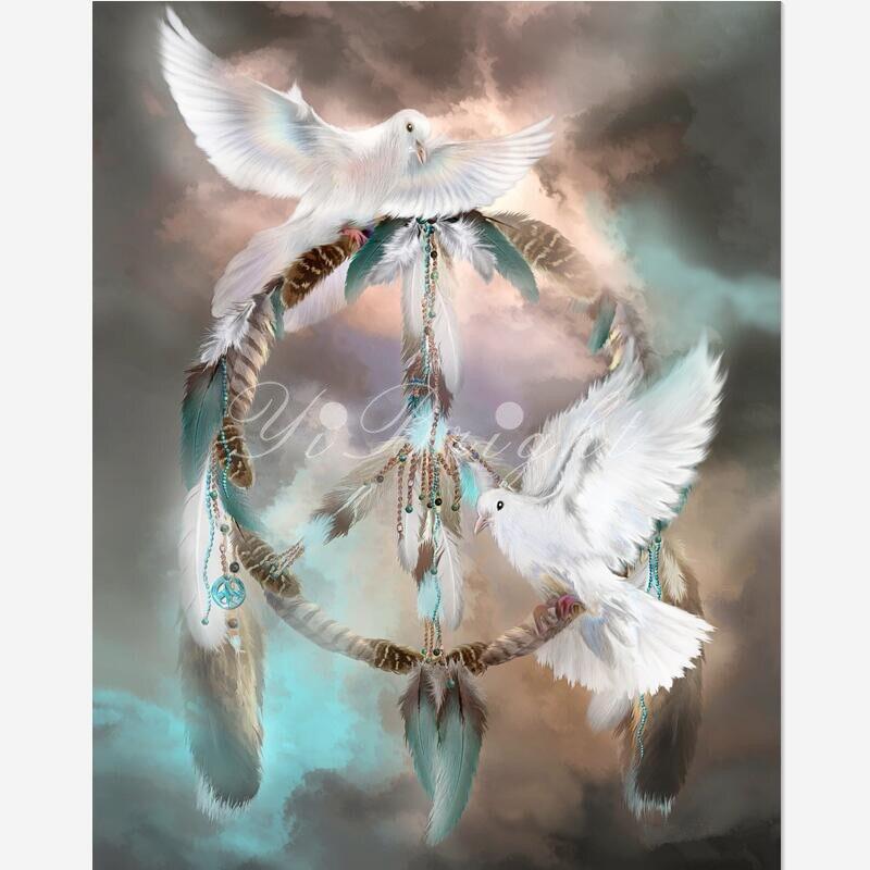 5D DIY diamante pintura sueños de Peace_PWD Cruz puntada costura casa decorativa cuadrado 3D ANIMAL diamante bordado LRR