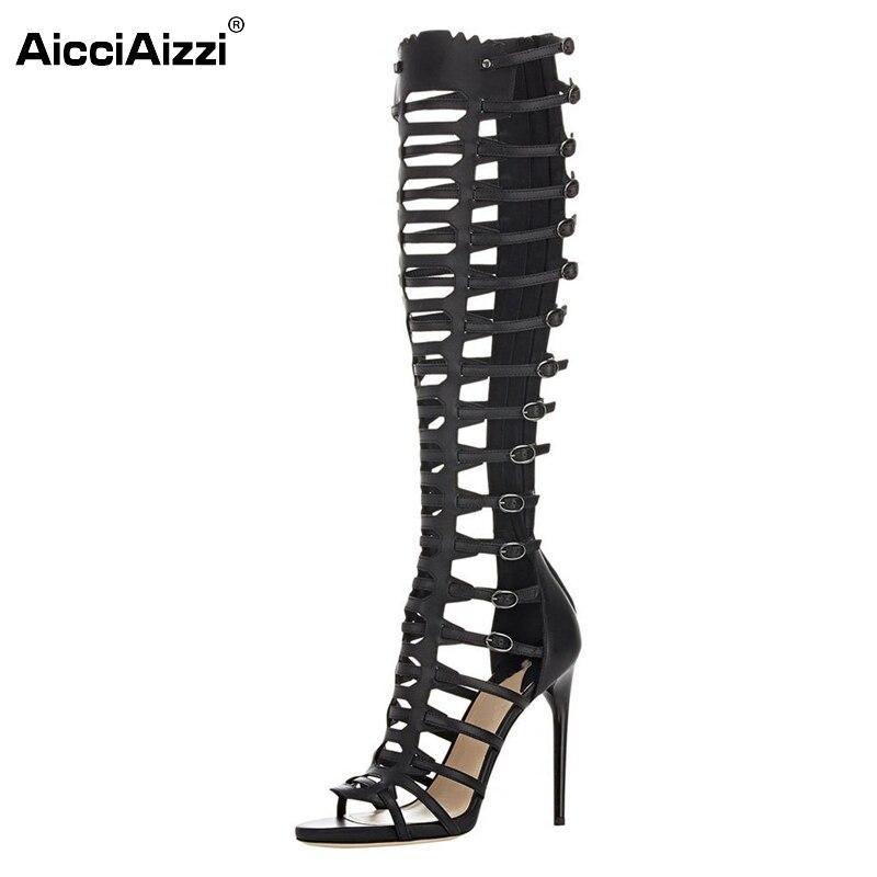 New Fashion Women Gladiator Sandals Lady Sexy Buckle Strap Open Toe Thin Heels Sandal Stylish Zipper Shoes Woman Size 35-46 B108