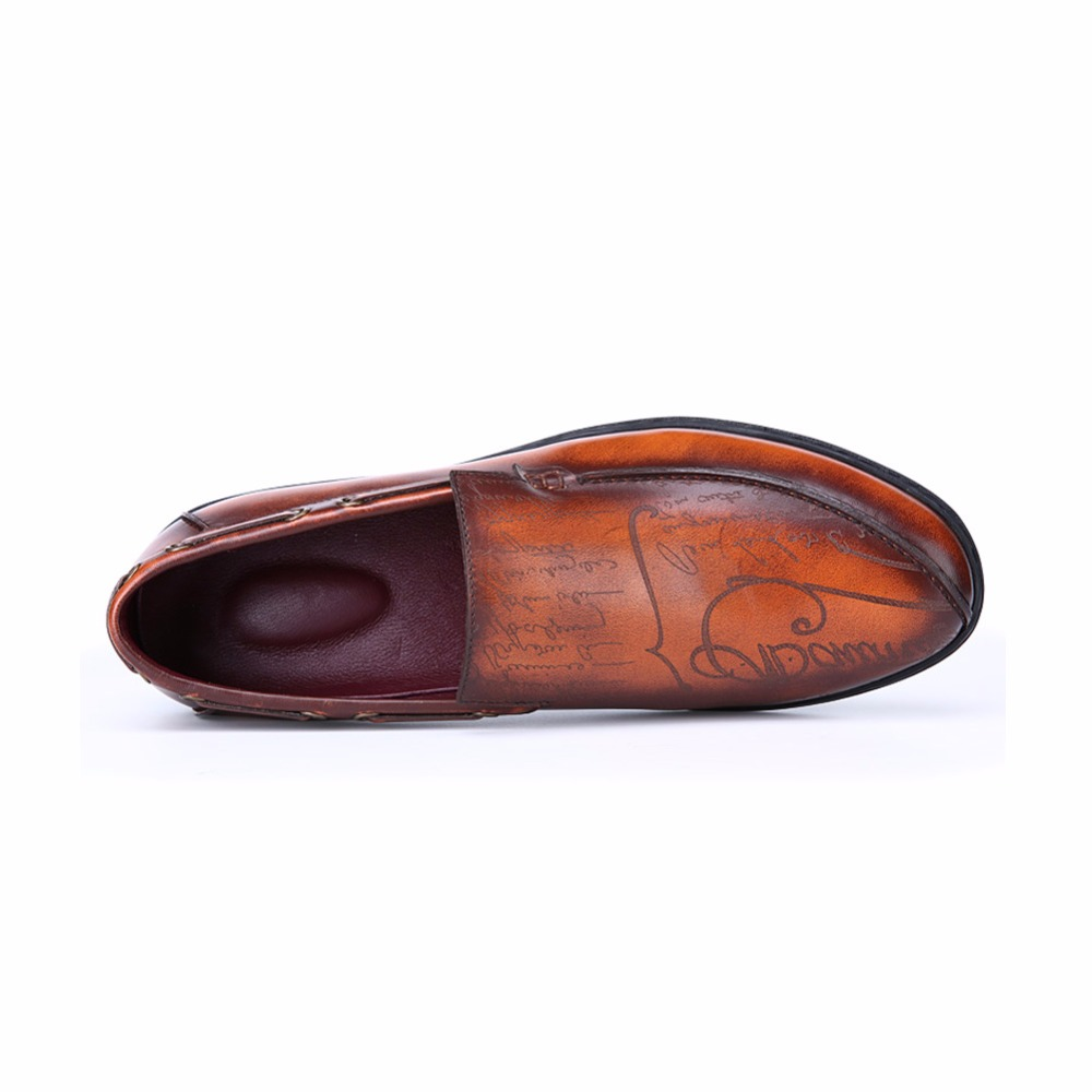 TERSE_China Manufacturer Men Loafers Wedding Shoes Orange Color Handmade Venezin Cow Leather Shoes Big Size Goodyear Welted OEM