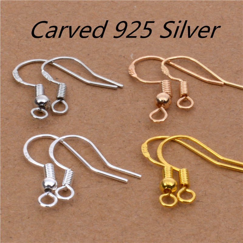 50pcs=25pairs 925 Sterling Silver Simple Fashion Ear Wires Hooks With Ball Spring Clasps For Earring Making Jewelry Findings