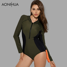 AONIHUA 2018 New Vintage Front zipper One-Piece Swimsuit for Women Long sleeve Swimwear female Push up swimming Suit 9010