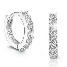 Женские серьги гвоздики из серебра 100% пробы с кристаллами