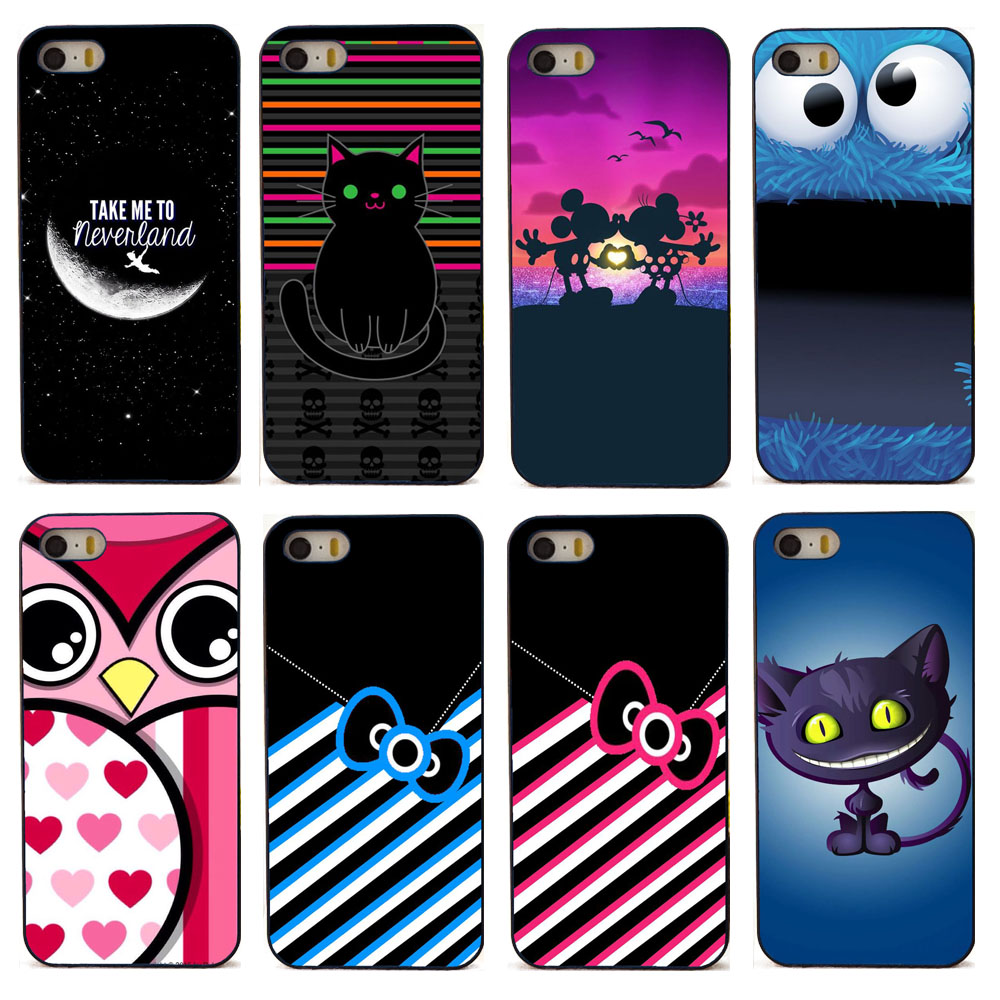 Fashion Hello kitty cat phone cases for Apple iPhone 5 5s SE 5SE case transparent soft TPU and black plastic hard c