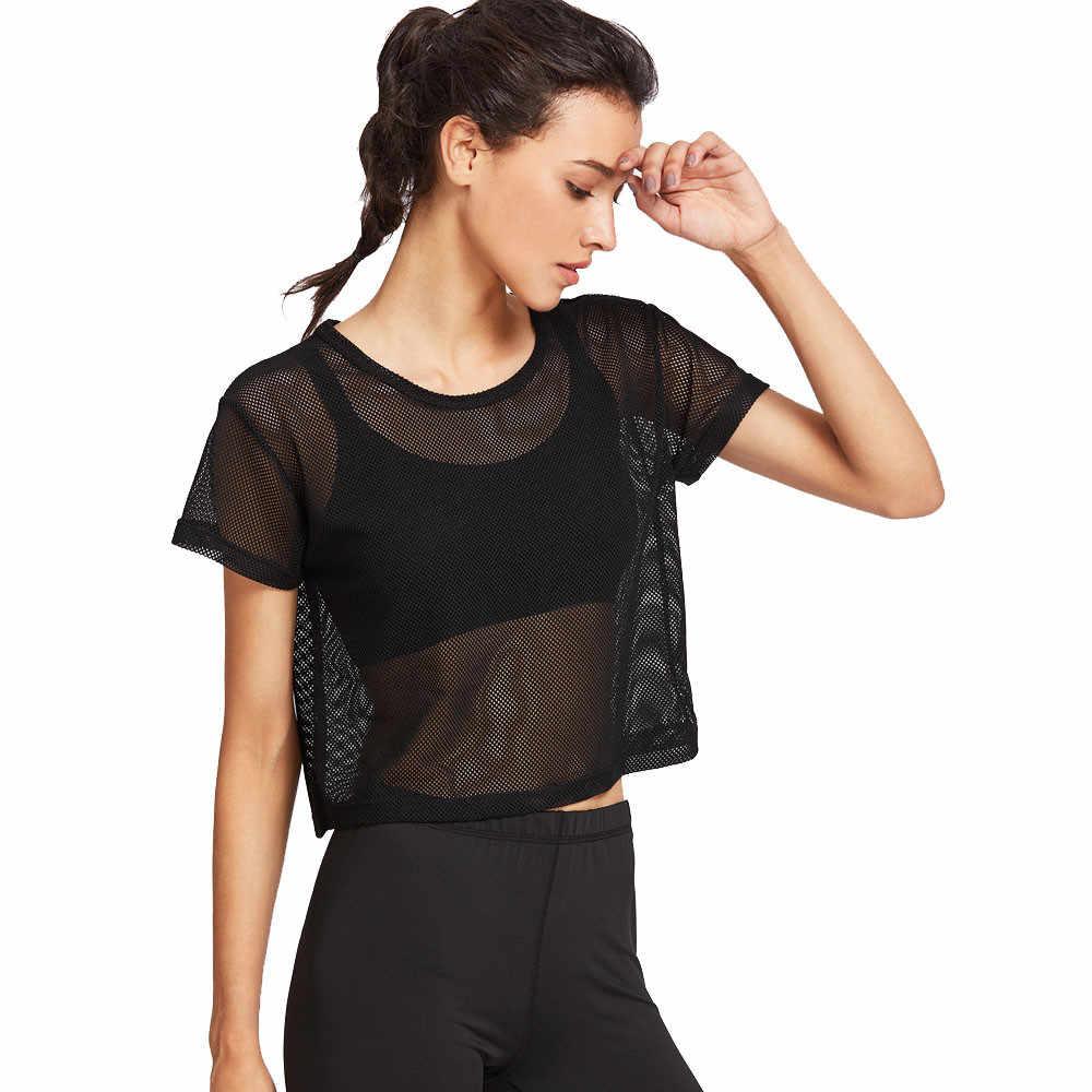 Camiseta con transparencias sexy para mujer, camiseta negra de malla para cubrir deportes, Camiseta deportiva para bailar, Camiseta deportiva, Tops de talla grande, Top negro # P2