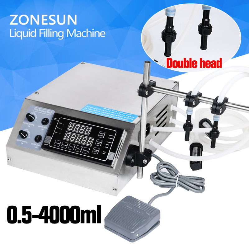 ZONESUN double head nozzle liquid,perfume,water,juice,essential oil Electric Digital Control Pump Liquid Filling Machine 50 500ml horizontal pneumatic double head shampoo filling machine essential oil continuous liquid filling machine
