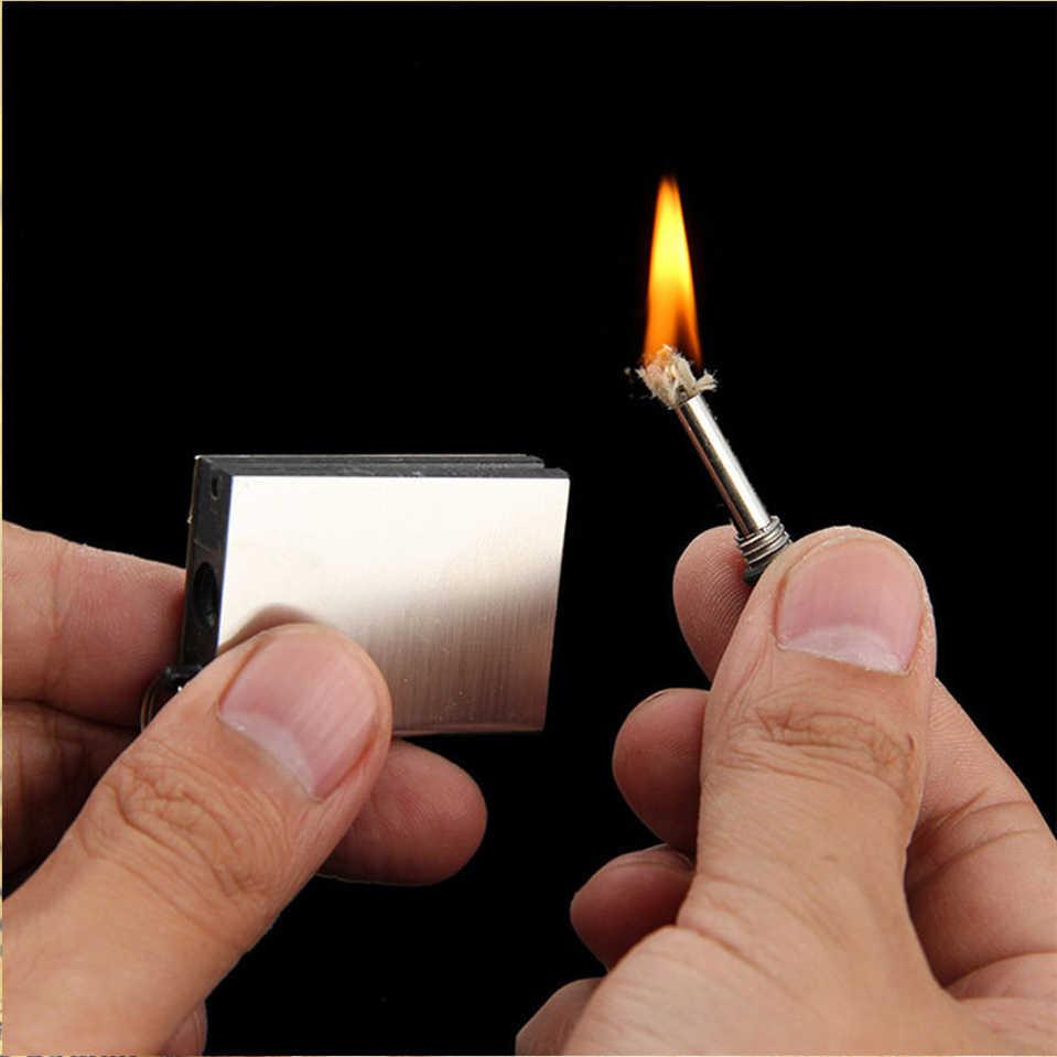 บุหรี่ซิการ์โลหะ Match Flint น้ำมันไฟแช็ก Fire Starter Flintstone หิน firesteel ค่ายเครื่องมือ bushcraft travel Kit