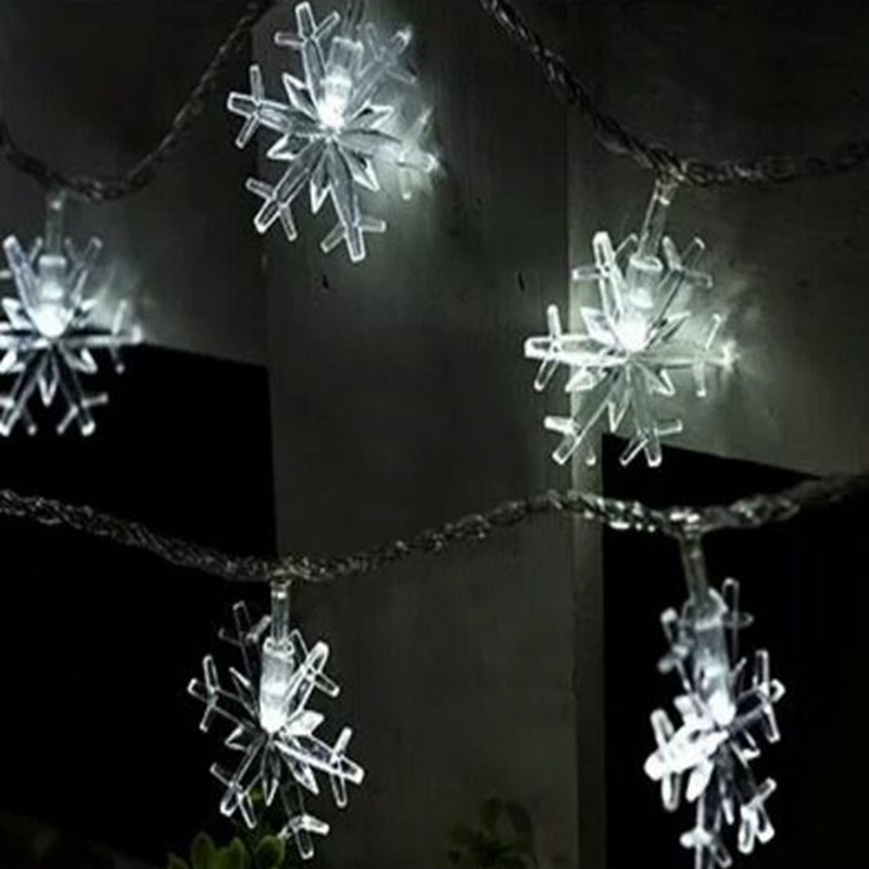 Quadruple 30leds/20leds Snowflake Led String Light Christmas or Wedding Party Decoration Light Bulb Power by Battery