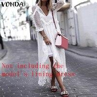 VONDA летнее Сексуальное Белое Кружевное платье 2019 женское платье с v-образным вырезом в горошек с асимметричным подолом праздничный кардиган...
