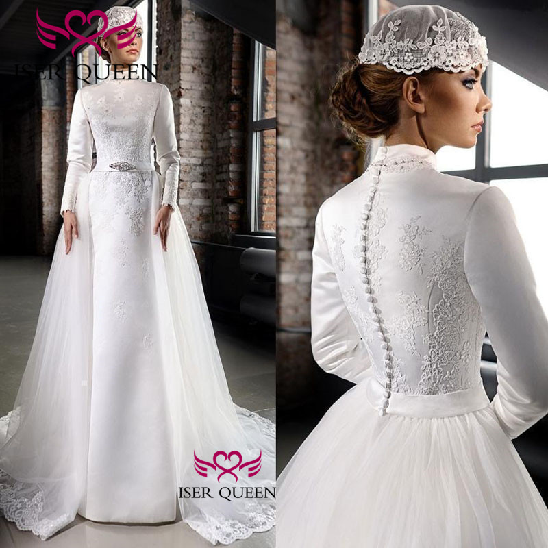 Long Sleeves High Neckline Mid-east Bridal Dress Pure White Embroidered Lace Wedding Dress 2019 New 2 In One Design W0529