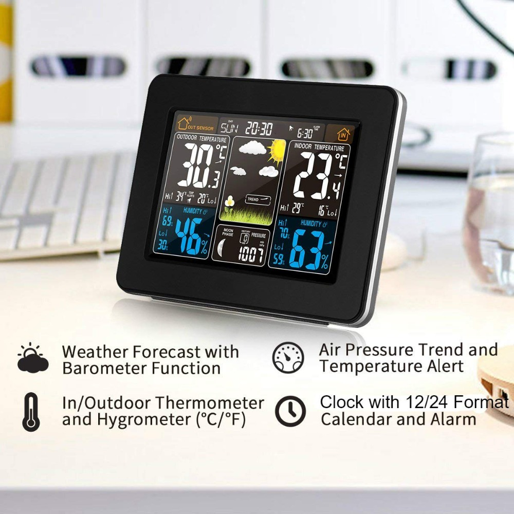 LCD Digital Wireless Weather Station Indoor Outdoor RCC Wireless Detector Wireless Sensor Alarm Clock Forecast Humidity