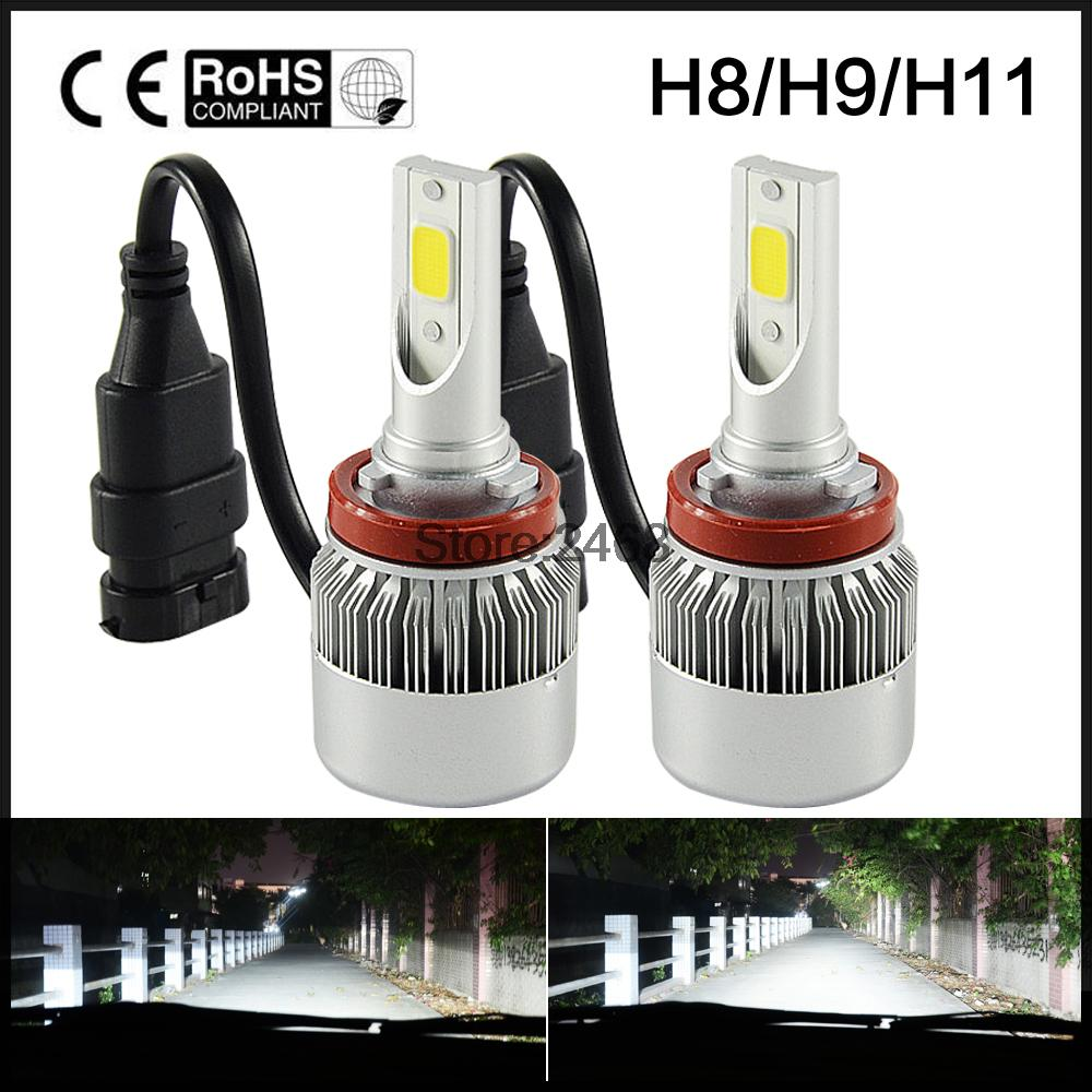 H11 LED Headlight COB 72W Car Led Headlights Bulb Fog Light White Yellow Auto Headlamp for Toyota/VW/Hyundai/Kia/Chevrolet/Mazda