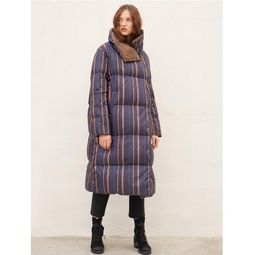 Manteau Montant Chaud De Veste Collection D'hiver Femmes Irinay049 Épais Canard Blanc Et Vertical As Picture Nouvelle Col Duvet Long Rayé 2018 UgqwaXP