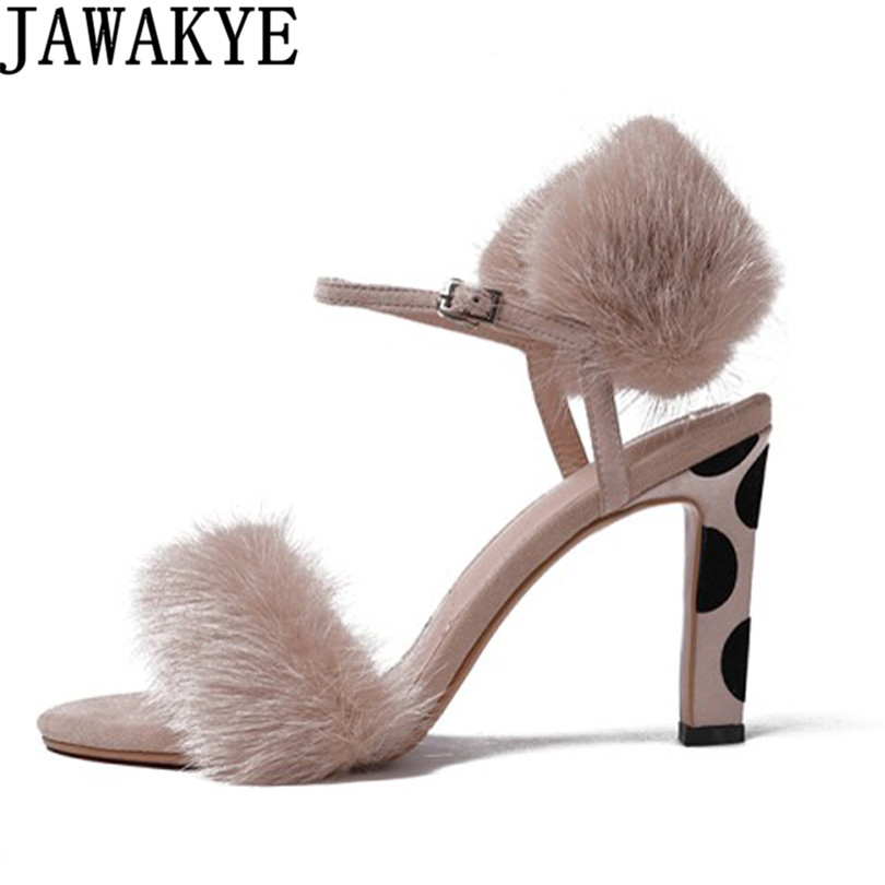 Sexy gladiator Sandals women apricot black fluffy fur Leopard print open toe high heels 2018 newest Shoes ladies sapato feminino