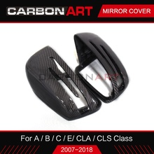 Carbon fiber mirror cover for Mercedes C class W204 CLS W218 CLA W117 A W176 B class W246 auto parts replacement mirror cap цена в Москве и Питере