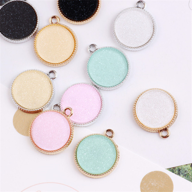 Wholesale 2124mm silver gold tone plated bling glitter diy jewelry wholesale 2124mm silver gold tone plated bling glitter diy jewelry pendant charms round floating aloadofball Images
