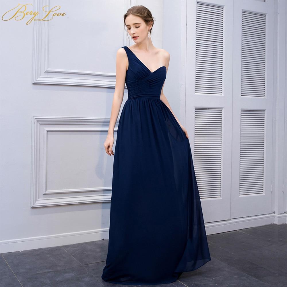 One Shoulder Navy Blue Long Chiffon Formal Evening Dress