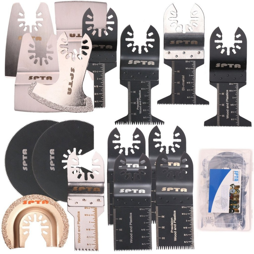 SPTA 15Pcs Oscillating Multi tool Saw Blade With Plastic Box For Fein Multimaster,Dremel,Bosch,Makita,Dewalt and More edc gear outdoor 6 slot design tool box with blade saw opener bar code sheet s carabiner