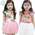 2017 Verão Novo Estilo Coreano Crianças Meninas da Roupa do Bebê Da Fita Da Flor Crianças Vestido Vestidos de Malha de Algodão De Manga Curta