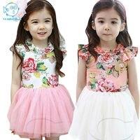 2017 Summer New Korean Style Children S Clothing Baby Girls Ribbon Flower Dress Children Short Sleeve