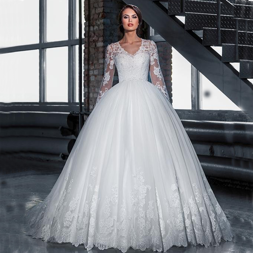 Long Sleeve V Neck Wedding Gown: FW1618 Illusion Lace Long Sleeves Cheap Ball Gown Wedding