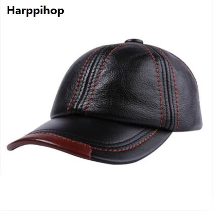2017 high end men's leather hat head layer sheepskin sheepskin Baseball Cap Hat peaked cap in autumn and winter