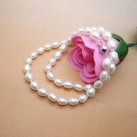 Вечная Свадебная Для женщин подарок Слово стерлингового серебра 925 настоящее в форме риса натуральный жемчужное ожерелье подлинный жемчуж