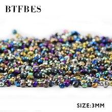 BTFBES 3 мм граненые плоские круглые Австрийские кристаллы, бусины россыпью 200 шт. покрытие AB стеклянный шар для ювелирных изделий