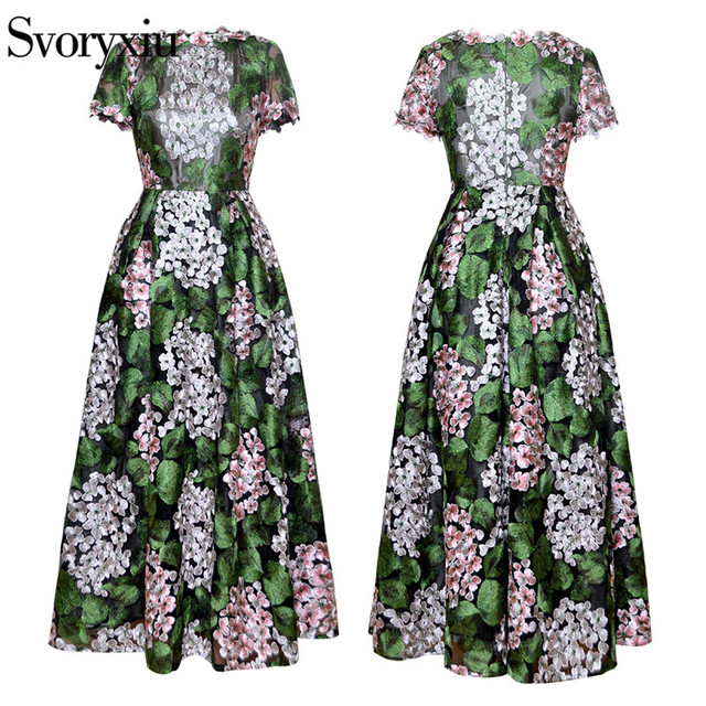 Mesh Green Flowers Embroidery Vintage  Dress