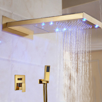 Wholesale And Retail LED Golden Wall Mounted Shower Head 3 Ways Valve Mixer Rainfall & Waterfall Shower Faucet W/ Hand Shower