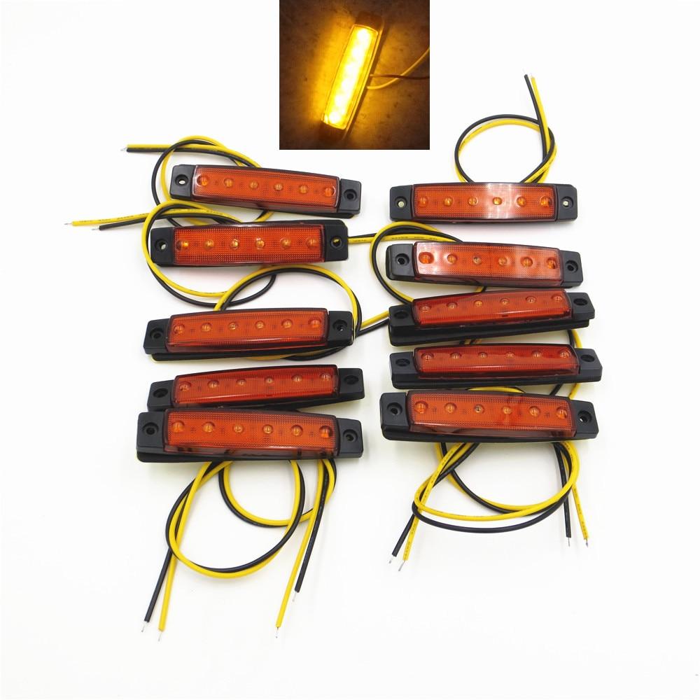 CYAN SOIL BAY 10Pcs 12V 24V 6LED Side Marker Indicators Lights font b Lamp b font