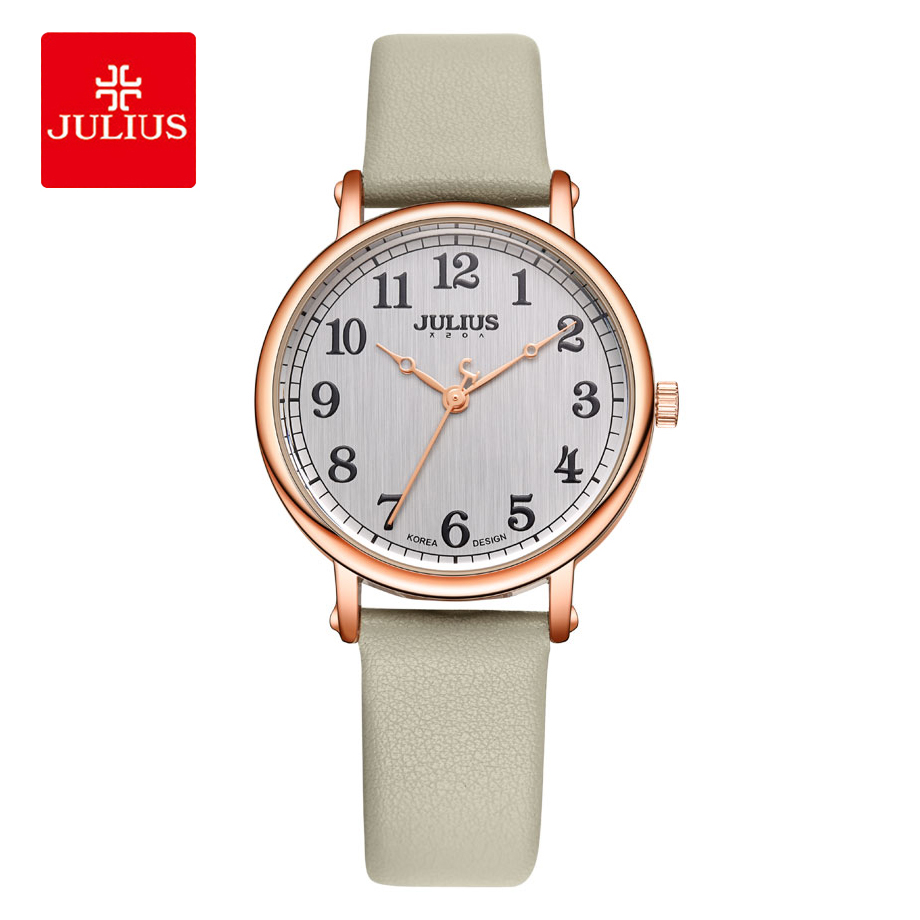 JULIUS Brand Large Dial Women Watches Quartz Leather Ladies Bracelet Watches Simple Arabic Numbers Fashion Female Wrist Watches