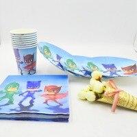 40pc Set PJ Masks Theme Cup Plate Napkin Party Supplies For Boys Event Party Decorations PJ