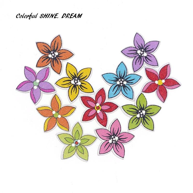 25x Multicolor Wooden Round Flower Flatback Buttons Embellishment Decor 30mm