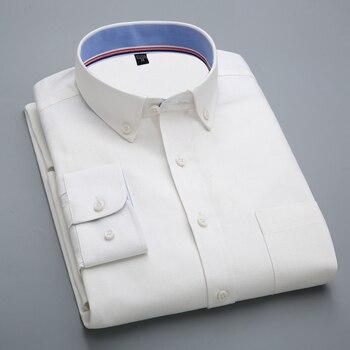 2f1280652 Los hombres de manga larga de Oxford vestido básico camisas con bolsillo en  el pecho izquierdo