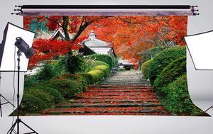 Image 3 - 7x5ft Beautiful Maple Leaves Ladder Nature Backdrop Lush Green Plants Wedding Photo Studio Photography Background