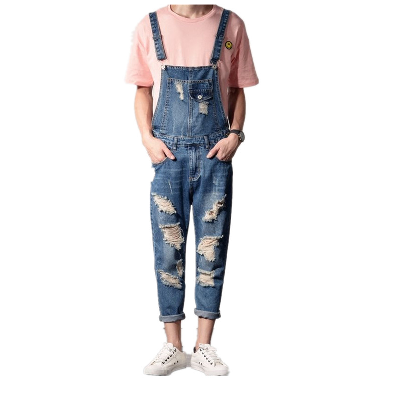 Men s denim Bib Overalls Fashion Ankle Length Denim Jumpsuit Men Ripped Suspenders Jeans pants Boyfriend hole Jumpsuits 060606 купить
