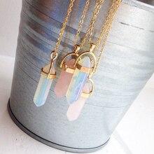 Горячая Распродажа шестиугольная колонна кварцевое ожерелье s Подвески модный натуральный камень в виде пули розовая подвеска в виде кристалла ожерелье для женщин ювелирные изделия