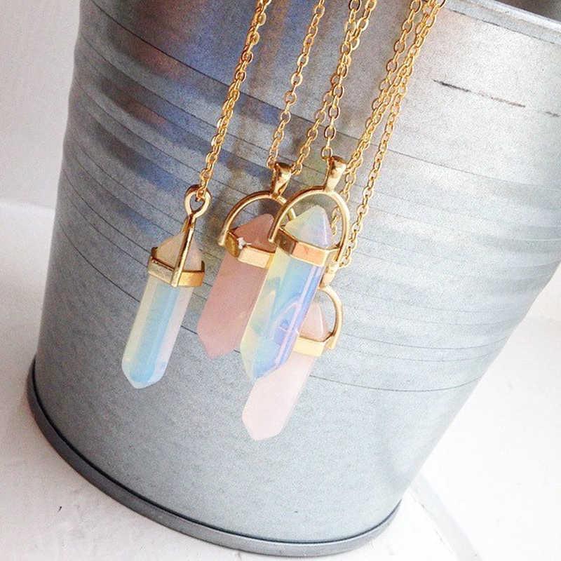 Gorąca sprzedaż sześciokątna kolumna kwarcowy naszyjniki wisiorki moda naturalny kamień Bullet różowy kryształowy naszyjnik dla kobiet biżuteria
