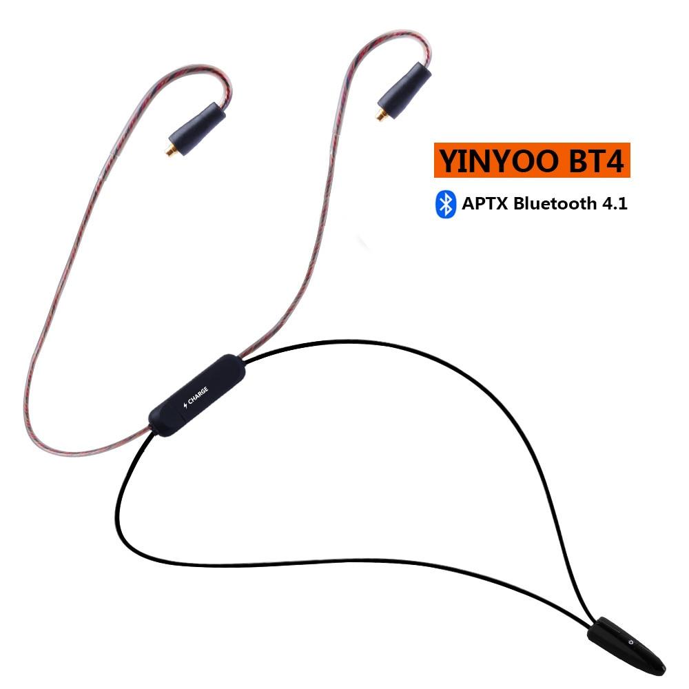 YINYOO BT4 Cabo HIFI Fone de Ouvido Sem Fio Bluetooth 4.1 APTX APT-X 2PIN MMCX Cabo Usar Para V20 V80 KZ ZS10/ AS10 Yinyoo HQ5 HQ6 HQ8