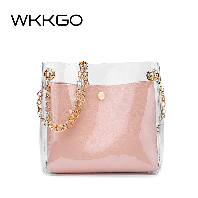 WKKGO New Mini Composite Satchel Bags Chains Transparent Flap Messenger Crossbody Bag Girl Coin Purse Shoulder Ladies Clutch Bag алиэкспресс сумка прозрачная