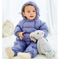 Newborn Baby Girls Boys Rompers Winter Thick Warm Toddler Hooded Jumpsuit Kids Outwear Boys Feathers Cotton Clothing Jump Suit
