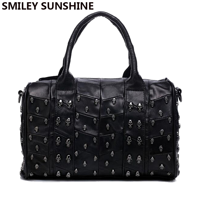 Sheepskin Genuine Leather Bag Female Skull Handbags Rivet Lady Shoulder Bag Boston Women Leather Handbag Tote Hand Bags 2016 qiaobao 100% sheepskin bag leather handbags knit big ladies hand bags girls soft genuine leather shoulder bag lady totes