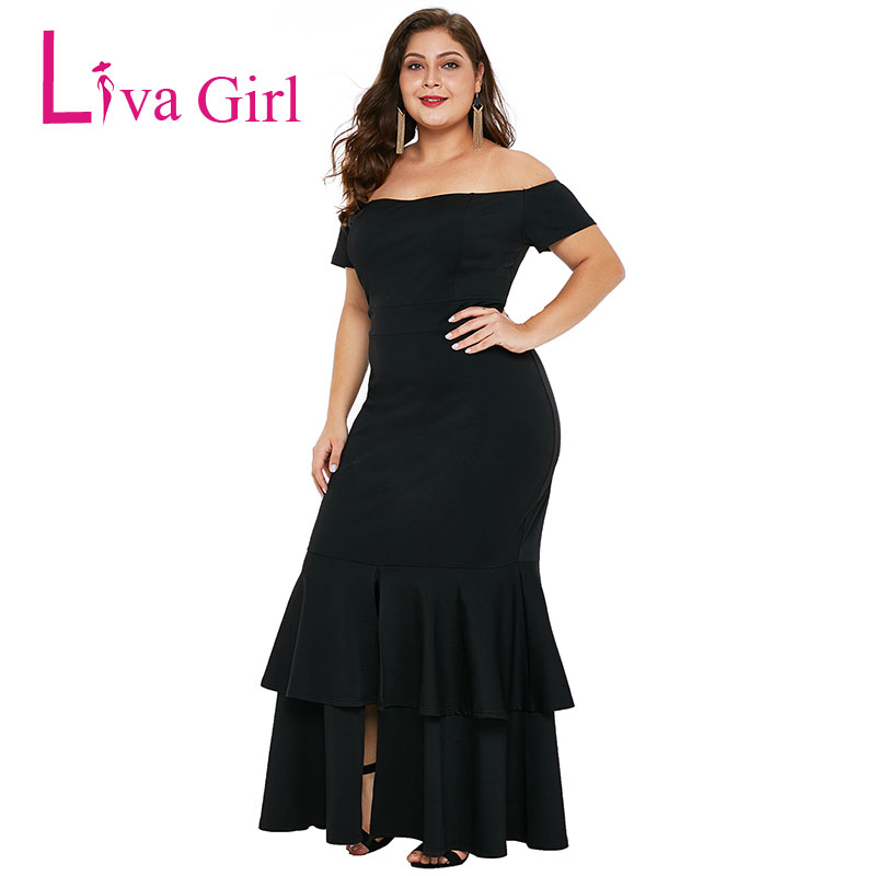 3943d8e2f7da2 Liva Girl Sexy Plus Size Party Maxi Dress Off Shoulder Women Summer ...
