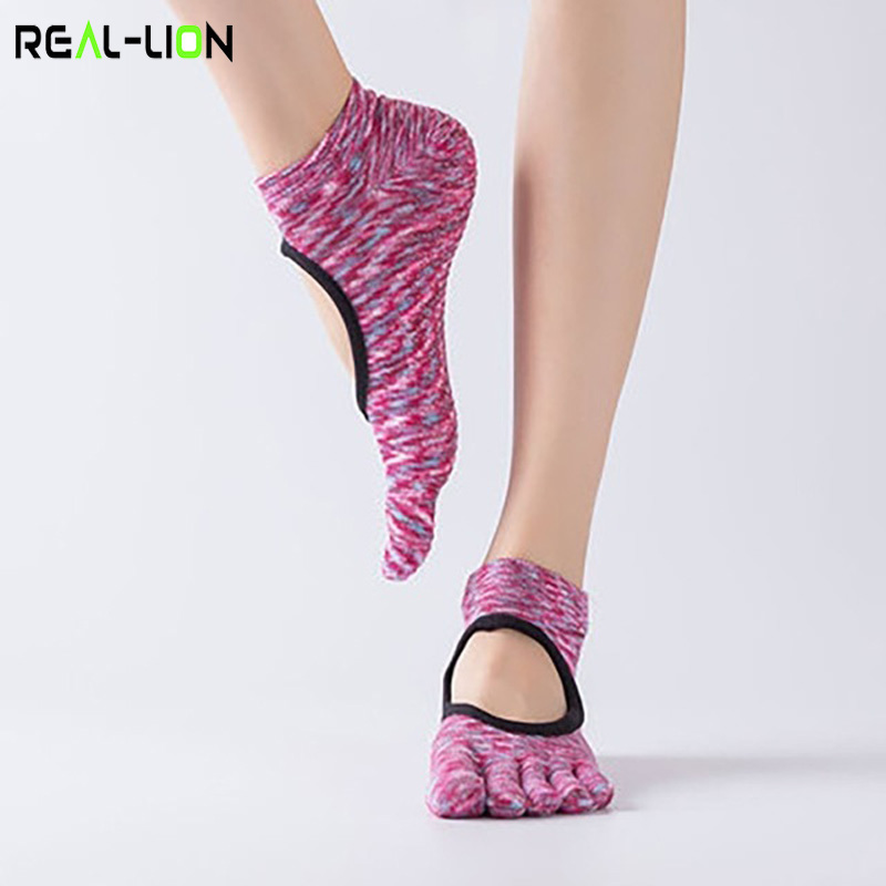 Reallion Women Backless Non-Slip Cotton Massage Sport Yoga Socks Breathable Pilates Fitness Workout Gym Yoga Socks Fingers Socks