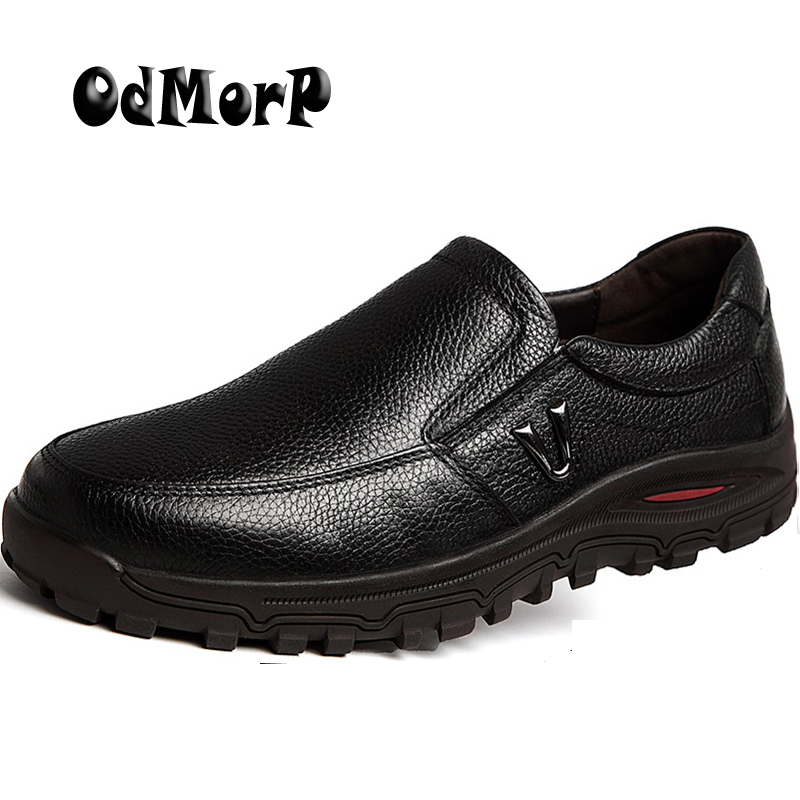 ODMORP Men Leather Shoes Slip On Formal Business Men Shoes, Spring Black Brown Casual Shoes For Men, Big Size 48 Handmade Oxford branded men s penny loafes casual men s full grain leather emboss crocodile boat shoes slip on breathable moccasin driving shoes