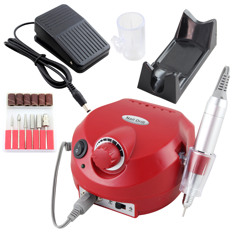 OPHIR Pro Electric Nail Drill Machine 30000RPM Nail Art Equipment Manicure File Drill Bits Nail Tools & Accessory_KD143R(110V) red nail tools electric nail drill machine 30000rpm nail art equipment manicure kit nail file drill bit sanding band accessory
