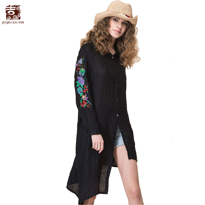 Jiqiuguer Floral Embroidery Linen Black Shirt Long Sleeve Summer Women Blouses Irregular Hem Casual Elegant Long Tops G171Y022
