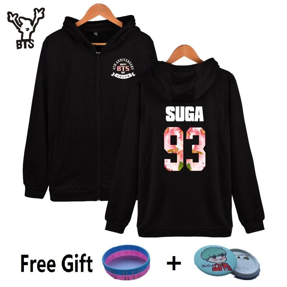 BTS Fourth Anniversary Kpop Hooded Men Women Hoodies Zipper Korean Popular Hip Hop Coat Winter Sweatshirt