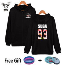 BTS Fourth Anniversary Kpop Hooded Men/Women Hoodies Zipper Korean Popular Hip Hop Coat Winter Sweatshirt Cotton Casual Clothes
