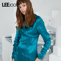 LEEJOOER New Designs Winter Dress Fashion Street Wear Sexy Club Party Dress Women Long Sleeve Bright